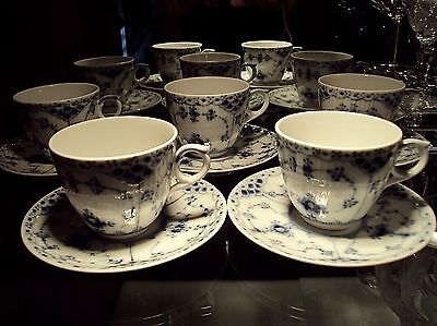 Royal Copenhagen Half Lace #528 Demitasse Cup & Saucer Sets (5) First Quality