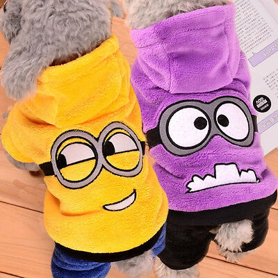 Minions Hoodie Jacket Dog Puppy Clothes for Small Dogs Poodle Terrier Beagle