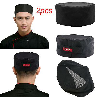 2pcs Adjustable Breathable Mesh Top Skull Cap Professional Catering Chefs Hat