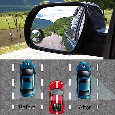 2pcs Car Rear View Mirror Wide Angle Blind Spot Mirror Round Parking Mirror Auto