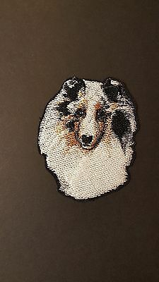 "Sheltie/Shetland Sheepdog BLue Merle Embroidered Patch 3""x3.5"""