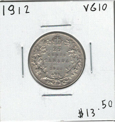 Canada 1912 Silver 25 Cents VG10