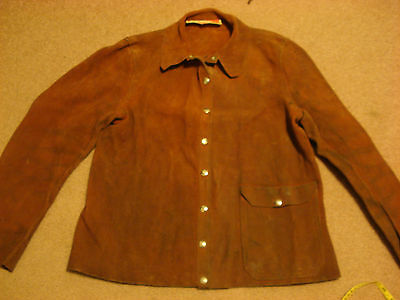 Vintage USA Made Heavy Suede Welding Leathers by American Optical- sz S!