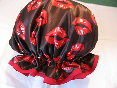 Shower Cap Hat   Handmade, Waterproof Black With Red Lips Satin