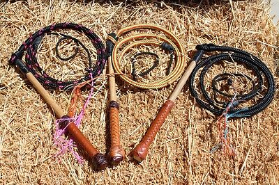 4' Kid's /Yard All Weather Australian Stock Whip with Leather Decorated Handle