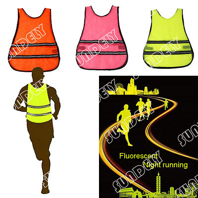 New Fitness Basic High Visibility Reflective Running Mesh Vest Cycling Jogging