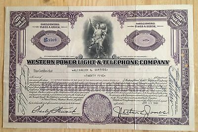 Western Power Light & Telephone Company Stock Certificate De 1931