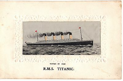 R.M.S. Titanic Silk Postcard White Star Line and R.M.S. Olympic Interest