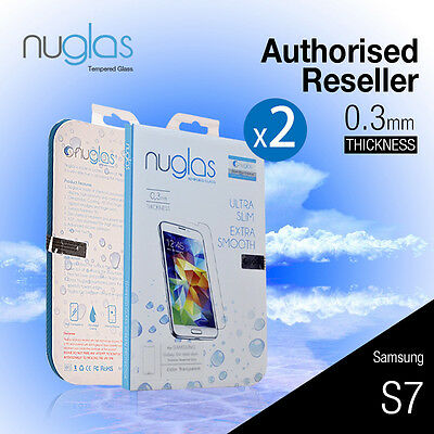 2 X Genuine Nuglas Tempered Glass Screen Protector for Samsung Galaxy S7 9H Film