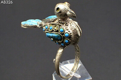 Antique Islamic Lovely Silver Bird Ring With Turquoise Stones #326