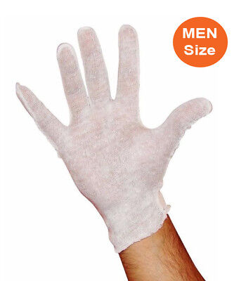 White Cotton Lisle Inspection Gloves for Mens 12 Pairs ( 1 Dozen )