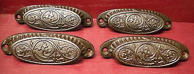 4 Large Antique Patented 1873 Fancy Cast Iron Bin Pulls Drawer Handles
