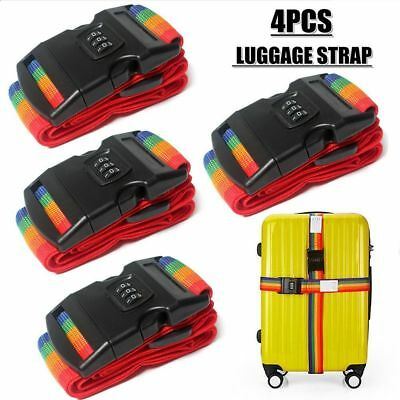 4x Password Travel Luggage Suitcase Secure Lock Safe Baggage Packing Belt Strap
