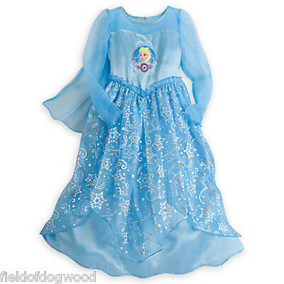 NWT Disney Store Princess ELSA Deluxe Nightgown costume Frozen 5/6 7/8