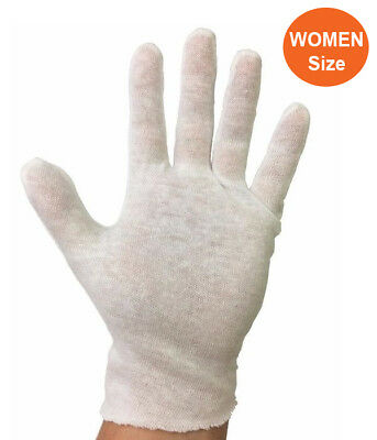 12 Pairs Women's White Cotton Lisle Inspection Gloves (1 Dozen)