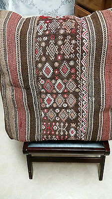 KILIM HAND-WOVEN RUG PILLOW COVER 20x20IN Wool/Cotton VINTAGE
