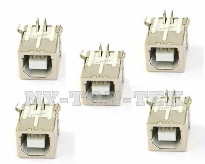 5Pcs Plug Port Connector Jack For USB 2.0 Type B Female Right Angle Replacement