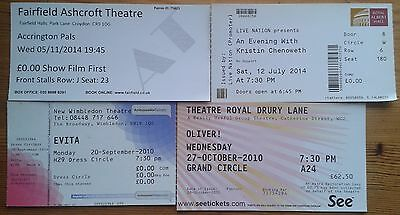 Selection of individual used theatre tickets, show ticket