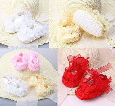 Hot Sale Infant Newborn Baby Girls Princess Non-Slip Lace Flower Shoes