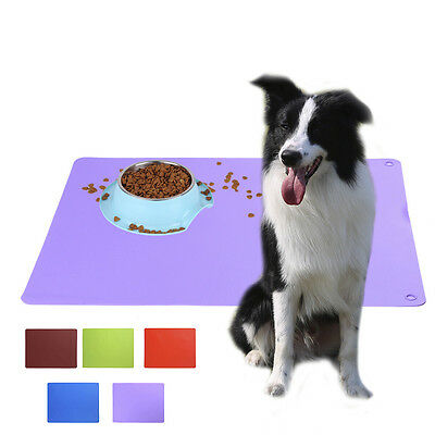 Puppy Pet Dog Cat Placemat Dish Bowl Feeding Food Silicone Mat Wipe Clean Tool