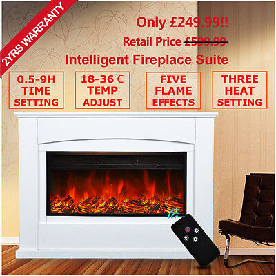 Danby Electric Fireplace In A Light Cream MDF Fire Surround Suite Remote Set 48""