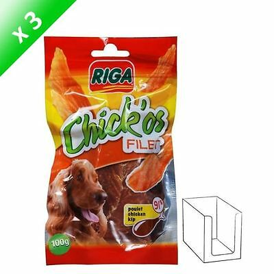 RIGA Lot de 3 Chick'os Filets de poulet pour chien 100g