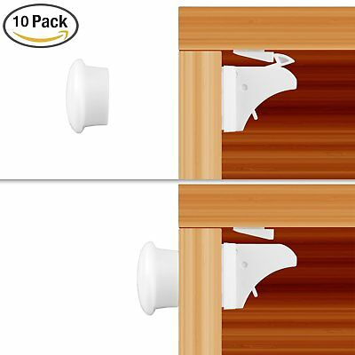10 Locks 2 Keys A-Magnetic Baby Child Infant Safety Cupboard Drawer Cabinet Door