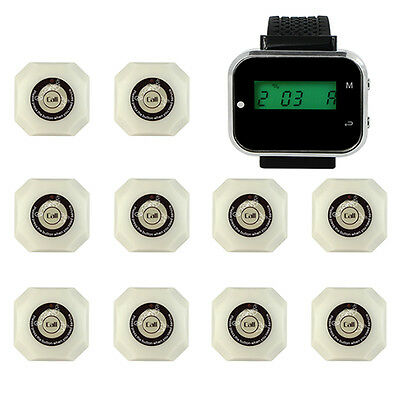 Wireless Restaurant Calling System 1*Watch Receiver +10*Call Button Pager+track