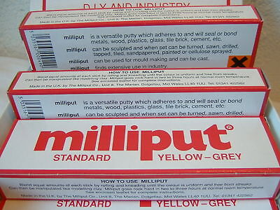 Milliput Epoxy putty Standard yellow grey FIVE pack x 5 single packets fresh in