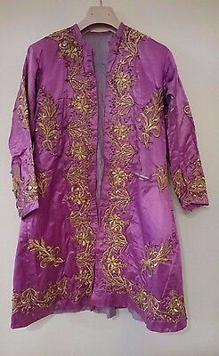 Antique 19Th C. Turkish Ottoman Gold Embroidered Pink Silk Jacket
