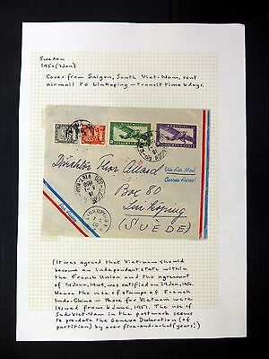INDO-CHINA 1950 Airmail Cover to Sweden As Described YZ891