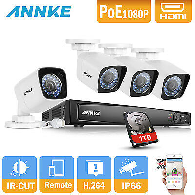 Annke 8CH CCTV NVR Network Record PoE 1080P Outdoor Security Camera System 1TB