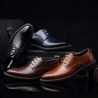 Men's Business Genuine leather Shoes Casual Formal Dress Lace up Flat Loafers
