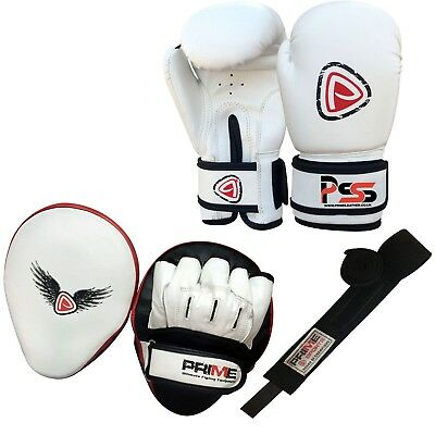 Adult boxing gloves set training focus pads mitts mma hand wraps set white S7