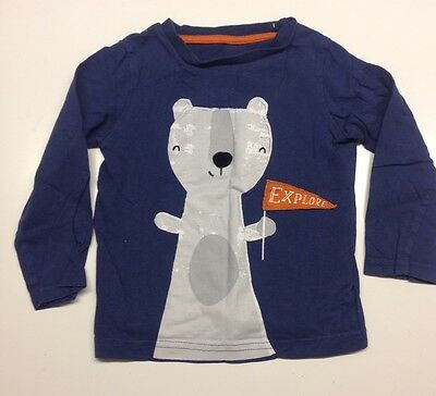 Mothercare Baby Boy Top 12-18 Months Blue Christmas Bear Tshirt