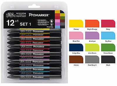 Winsor Newton ProMarker Set 1 with Free Blender 13 colours