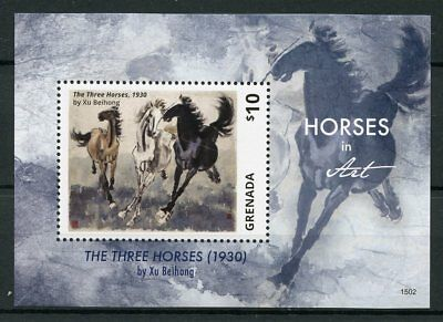 Grenada 2015 MNH Horses in Art 1v S/S I Paintings Three Horses Xu Beihong Stamps