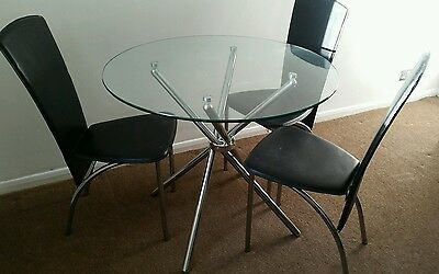 Glass Top Dining Table Silver Legs