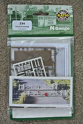 Ratio 234 Single or Double Track Level Crossing Kit  'N' Gauge Plastic Kit