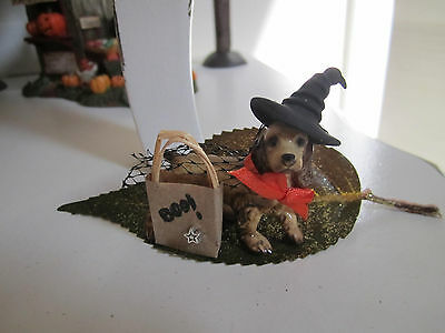 Halloween Ceramic Doggie with witch's hat & cape