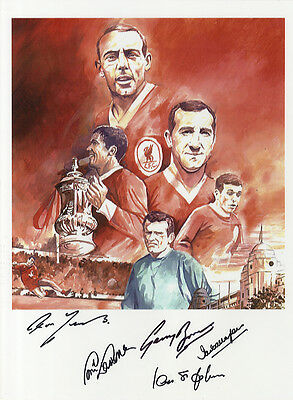 Liverpool F.C. - 1965 F.A.Cup Print Signed In Person by 5 Legends -