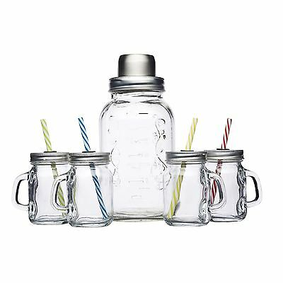 Bar Craft Mason Jar 5 Piece Cocktail Shaker Set Drinking Jars & Straws