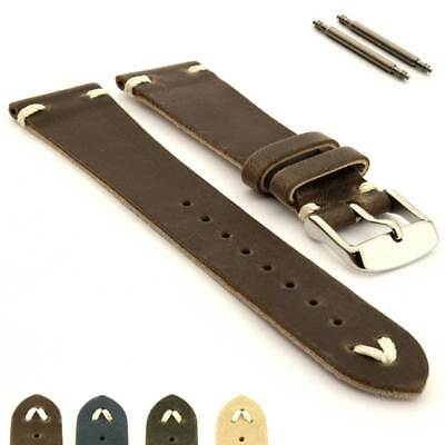 Two-Piece Genuine Leather Watch Strap Band in Oldfangled Style Texas Spring Bars