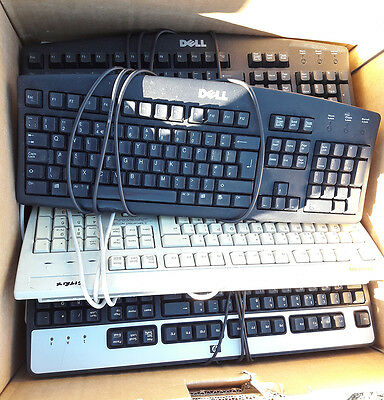 Batch of 21 used PS/2 PS2 keyboards, various brands (mostly Dell)