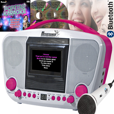 Compact Bluetooth Karaoke Machine Inc Mics and 14 CD+G Discs & Party Lights BNIB