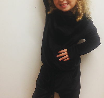 new girls black velour loungewear set / tracksuit ages 5-6 9-10 years