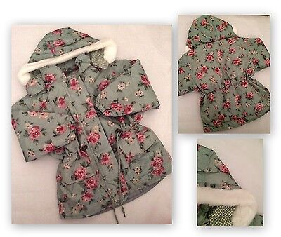 bnwt new girls stunning mint vintage floral rose coat age 3 4 5 6 7 years