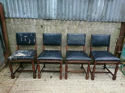 Set of 4 Antique Oak Dining Chairs for Basic Reupholstering