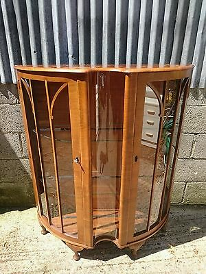 Rurka Antique Vintage Glass-Fronted Display Cabinet with Walnut Veneer