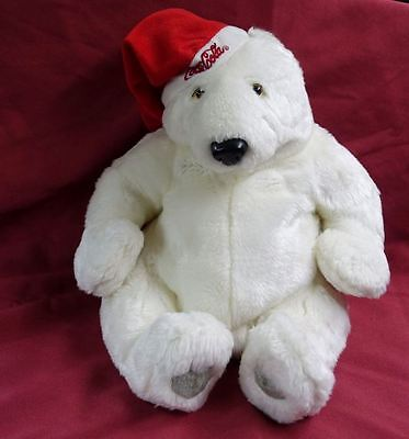 "Large 14"" Coca Cola Polar Bear Plush Beanie Red Hat Holiday Retired Advertising"